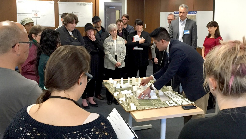 Stakeholders review preliminary development concepts for the new St. Paul's at a City of Vancouver workshop on Monday.